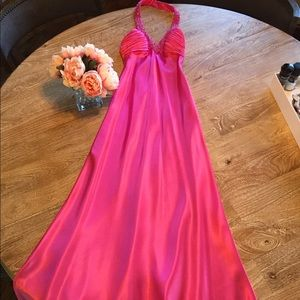 Morgan & Co Pink Satin Halter Gown, Size 3/4
